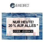 Jeans-Direct: Heute 20% Rabatt auf ALLES - auch im Sale!