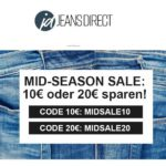 Jeans Direct Sale: 10€ oder 20€ Extra-Rabatt ab 50€/80€ Bestellwert