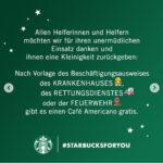Kostenloser Café Americano bei Starbucks für Feuerwehrleute, Krankenhaus- & Rettungsdienstmitarbeiter