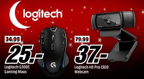 logitech tiefpreisschicht bei media markt z b logitech hd pro c920 webcam fuer 37e statt 6483e 1