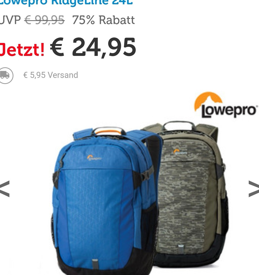 lowepro ridgeline bp 250 24l aw rucksack fuer 2495e 595e versand statt 85e