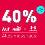 Mysportswear: 40% Rabatt auf alle Artikel von Nike und Under Armour