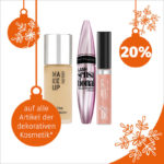 Heute bei Müller im Adventskalender: 20 % Rabatt auf alle Artikel der dekorativen Kosmetik
