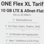 ONE FLEX XL Tarif mit 10GB LTE für 14,99€/Monat (o2-Netz / 24 Monate Laufzeit)