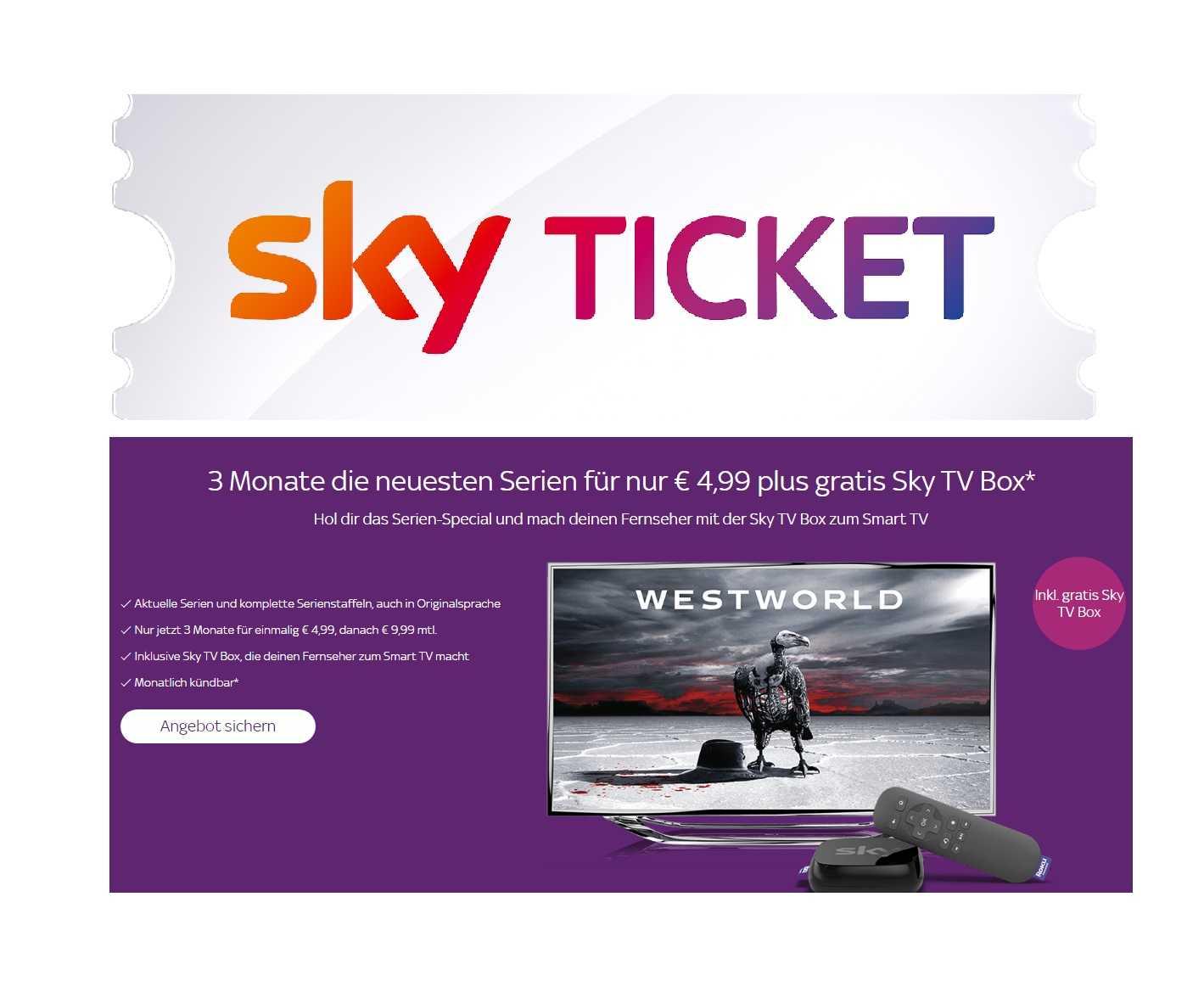 sky ticket 3 monate entertainment sky box fuer einmalig nur 499e