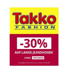 Takko: 30% Rabatt auf (lange) Jeans - Auch im Sale!