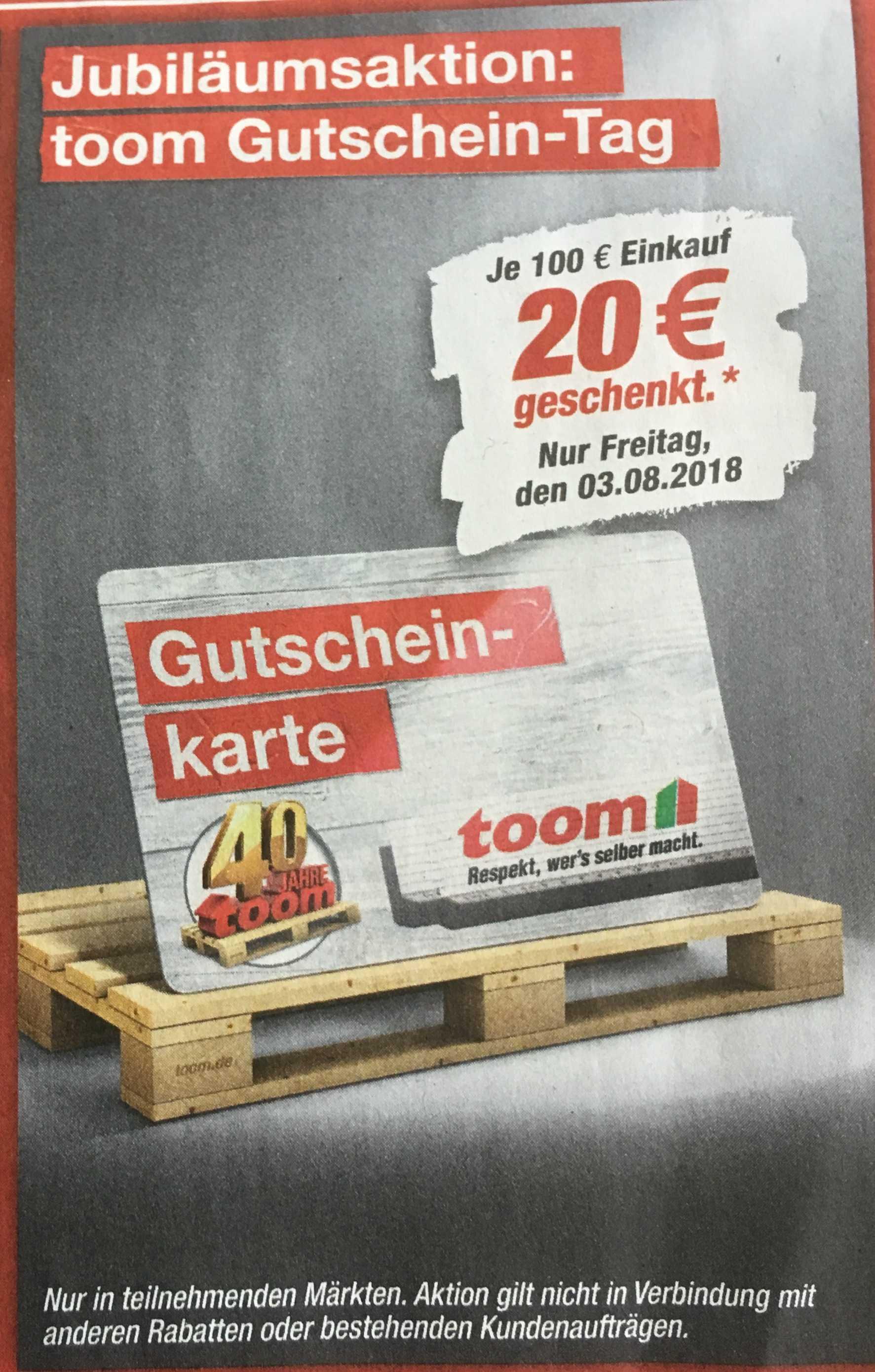 Toom Baumarkt: am 03.08. 20€ Gutschein erhalten für 100€ Einkauf ...