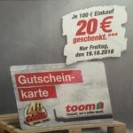 Toom Gutschein-Tag: 20€ Gutschein geschenkt  je 100€ Einkauf