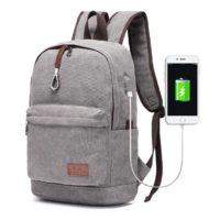 travistar canvas laptop rucksack mit usb ladeport