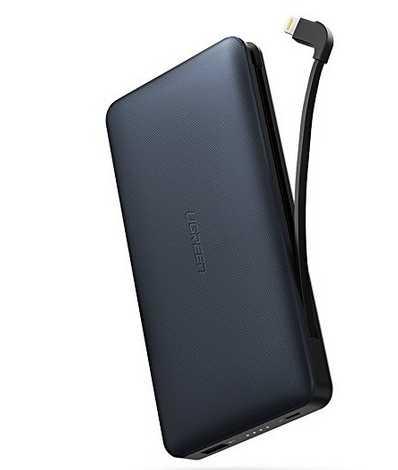 ugreen powerbank 20000mah externer akku mit integriertem mfi lightning kabel fuer 2599e statt 3999e