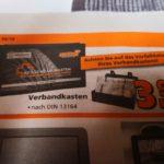 Verbandskasten für 3,99€ in Globus Baumarkt Filialen