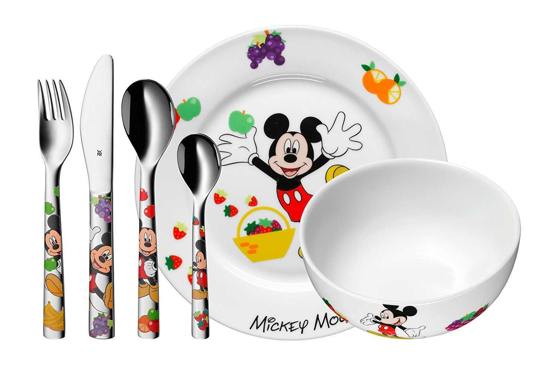 wmf disney mickey mouse kindergeschirr mit kinderbesteck 6 teilig