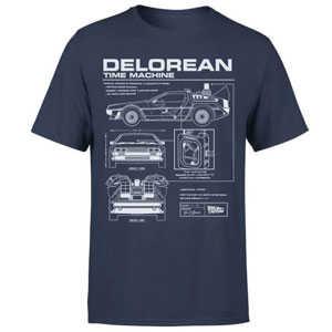 zurueck in die zukunft delorian schematic t shirt in blau fuer 1099e